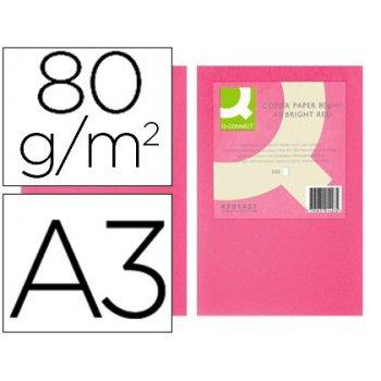 Papel color q-connect din a3 80gr rosa intenso paquete de 500 hojas