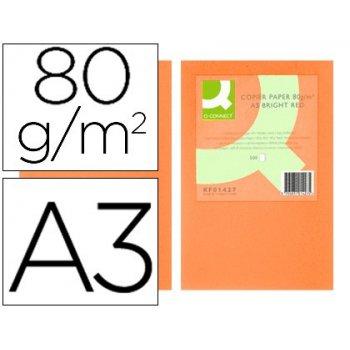 Papel color q-connect din a3 0gr naranja intenso paquete de 500 hojas