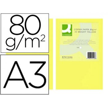 Papel color q-connect din a3 80gr amarillo intenso paquete de 500 hojas