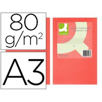 Papel color q-connect din a3 80gr rojo intenso paquete de 500 hojas