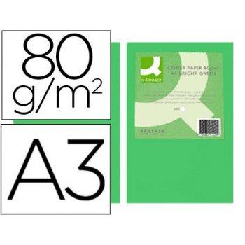 Papel color q-connect din a3 80gr verde intenso paquete de 500 hojas