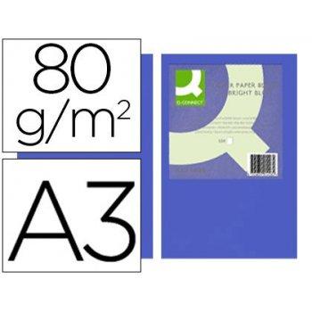 Papel color q-connect din a3 80gr azul intenso paquete de 500 hojas