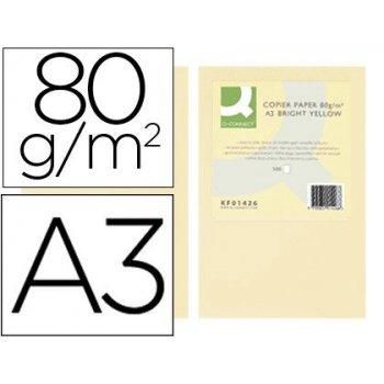 Papel color q-connect din a3 80gr crema paquete de 500 hojas