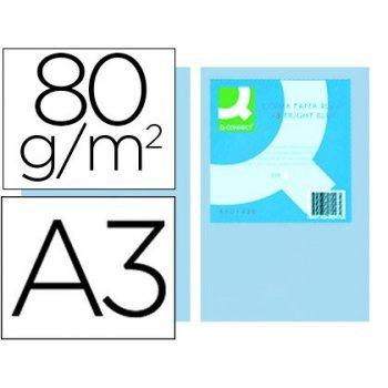 Papel color q-connect din a3 80gr celeste paquete de 500 hojas