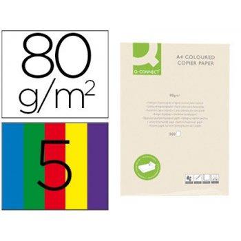Papel color q-connect din a4 80 gr 5 colores surtidos intensos paquete de 500 hojas