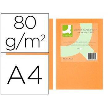 Papel color q-connect din a4 80gr naranja neon paquete de 500 hojas