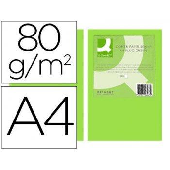 Papel color q-connect din a4 80gr verde neon paquete de 500 hojas