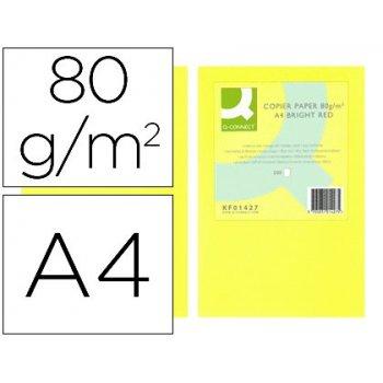 Papel color q-connect din a4 80gr amarillo neon paquete de 500 hojas