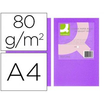 Papel color q-connect din a4 80gr lila intenso paquete de 500 hojas