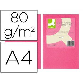 Papel color q-connect din a4 80gr rosa intenso paquete de 500 hojas