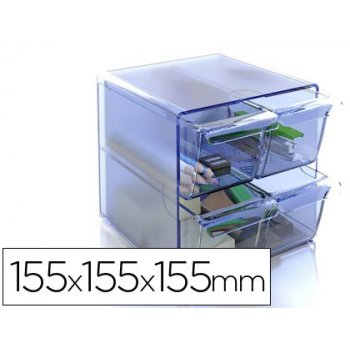 Archicubo archivo 2000 4 cajones organizador modular plastico azul transparente 155x155x155 mm