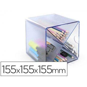 Archicubo archivo 2000 aspa organizador modular plastico azul transparente 155x155x155 mm incluye 2 clips de