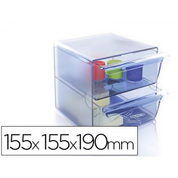 Archicubo archivo 2000 2 cajones organizador modular plastico azul transparente 155x155x190 mm