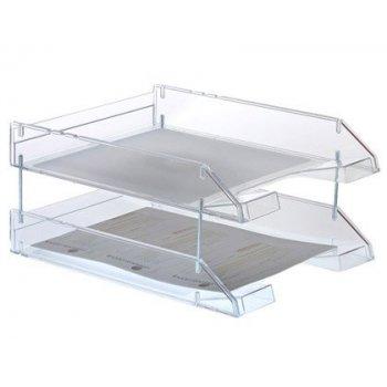 Bandeja sobremesa archivo 2000 plastico transparente cristal 340x260x60 mm