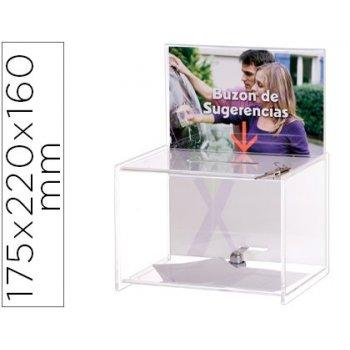 Buzon de sugerencias archivo 2000 con llave de poliestireno transparente 175x220x160 mm