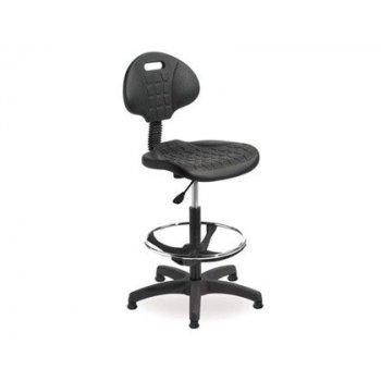 Taburete con respaldo rocada regulable en altura con asiento y respaldo en polimero con tacos