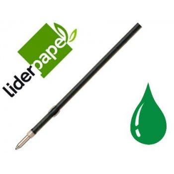 Recambio boligrafo liderpapel gummy touch retractil 1,0 mm tinta verde bolsa 10 uds