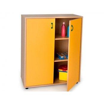 Mueble madera mobeduc intermedio armario 3 estantes haya blanco 90x112x40 cm