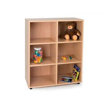 Mueble madera mobeduc intermedio 6 casillas haya blanco 90x112x40 cm