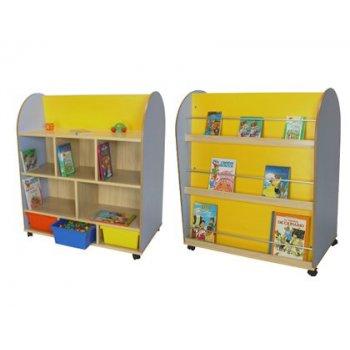 Mueble madera mobeduc expositor de libros ovalado haya blanco 103x120x60 cm