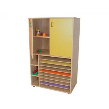 Mueble madera mobeduc cartulinero y armario haya blanco 90x147x53 cm