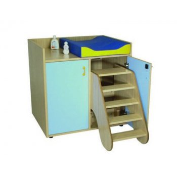 Mueble madera mobeduc cambiador con escalera giratoria haya 90x91x70 cm