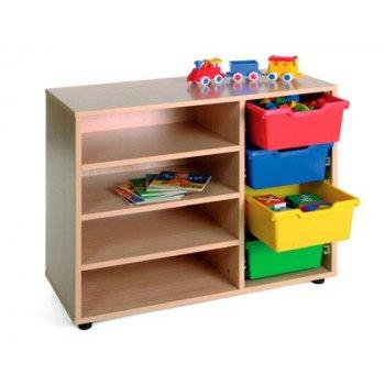 Mueble madera mobeduc bajo estanteria cubetero haya blanco 90x76,5x40 cm