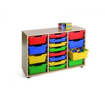 Mueble madera mobeduc bajo cubetero 3 columnas haya blanco 105x76,5x40 cm