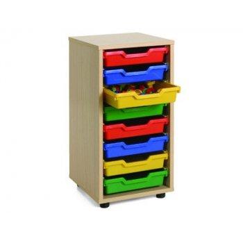 Mueble madera mobeduc bajo cubetero 1 columna haya blanco 36x76,5x40 cm