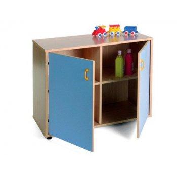 Mueble madera mobeduc bajo armario 4 casillas y 2 puertas haya blanco 90x76,5x40 cm
