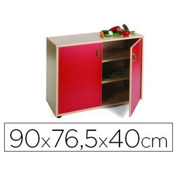 Mueble madera mobeduc bajo armario 3 estantes haya blanco 90x76,5x40 cm