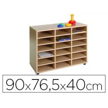 Mueble madera mobeduc bajo 18 casillas haya blanco 90x76,5x40 cm