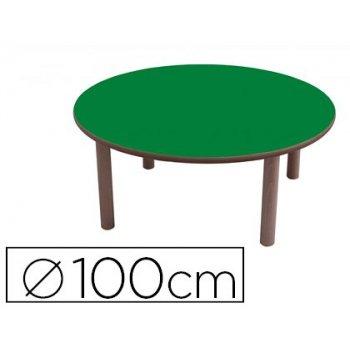 Mesa madera mobeduc redonda con tapa laminada haya diametro 100cm