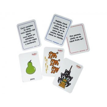 Juego tarjetas henbea rimas adivinanzas trabalenguas plastico flexible fines pedagogicos 12x8,5 cm set 24