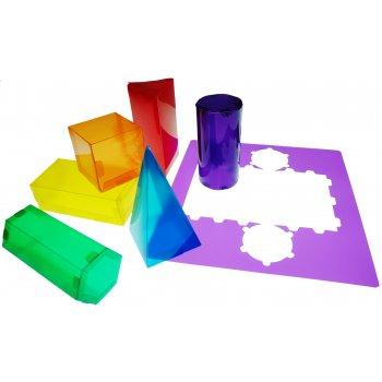 Juego plantillas 3d henbea plastico flexible formas geometricas colores translucidos 35x35 cm set con