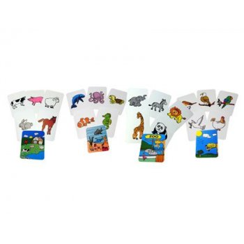 Juego tarjetas henbea animales plastico flexible 12x8.5 cm set 24 unidades