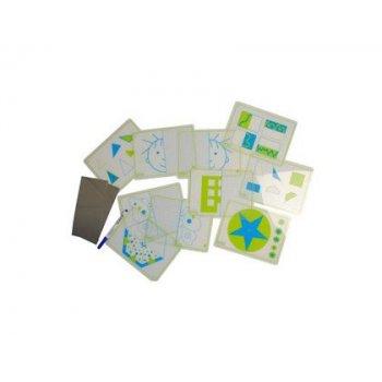 Juego fichas henbea transparentes + espejos simetrias y formas 21x15 cm set 10 tarjetas + 2 espejos
