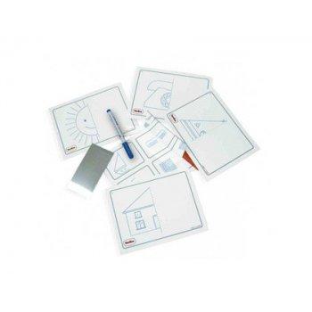 Juego tarjetas reutilizables henbea imagina y completa plastico flexible con ilustraciones 21x15 cm