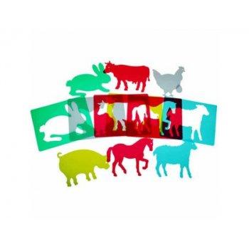 Juego plantillas flexibles henbea animales de granja medidas 15x21 cm set 6 unidades