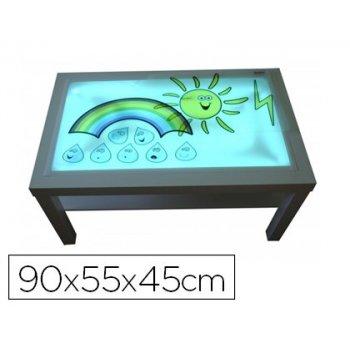 Mesa con luz henbea madera de haya superficie metacrilato blanco y luces led 90x55x45 cm