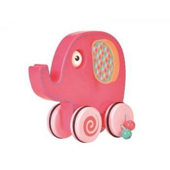Juego arrastre madera fiesta crafts con cuatro ruedas y palo desmontable elefante 10x28x34 cm