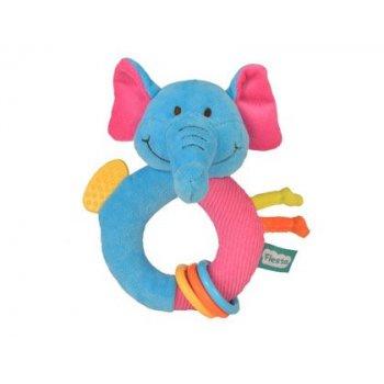 Sonajero anillo fiesta crafts elefante con mordedor y anillas suaves 15x15 cm