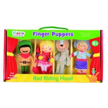Marioneta fiesta crafts de tela para mano y dedos caperucita roja 17x33 cm caja de 4 unidades