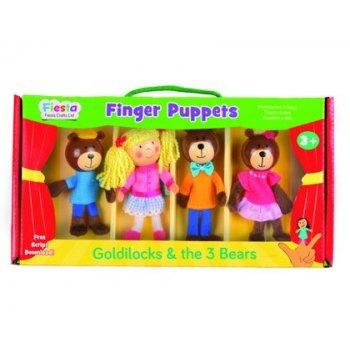Marioneta fiesta crafts de tela para mano y dedos ricitos de oro 17x33 cm caja de 4 unidades