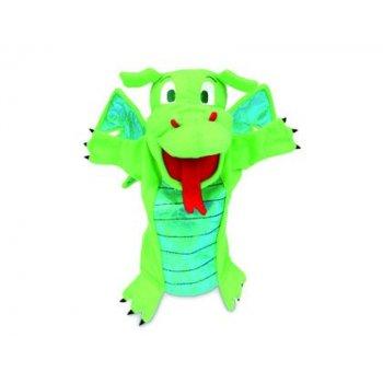 Marioneta fiesta crafts de tela para mano y dedos dragon verde 17x33 cm