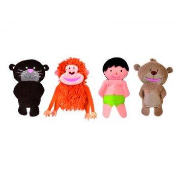 Marioneta fiesta crafts de tela para mano y dedos libro de la selva 17x33 cm