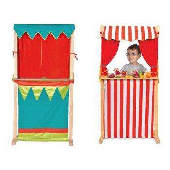 Teatro fiesta crafts marionetas y tienda en madera tela doble cara 100x28x34 cm