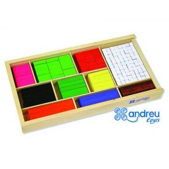 Juego andreutoys barras de fracciones 308 piezas 32,5x17,5x4 cm