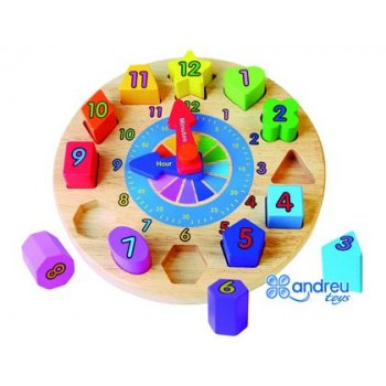Puzzle andreutoys reloj madera figuras geometricas 22x4 cm