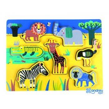 Puzzle andreutoys madera jungla 7 piezas